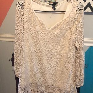 Cute off white lace blouse